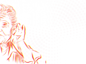 Illustration of elderly woman hard of hearing