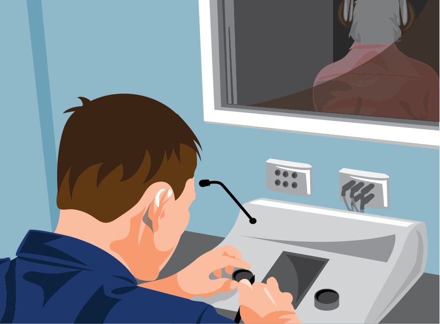 Illustration of patient getting hearing test within sound-proof booth