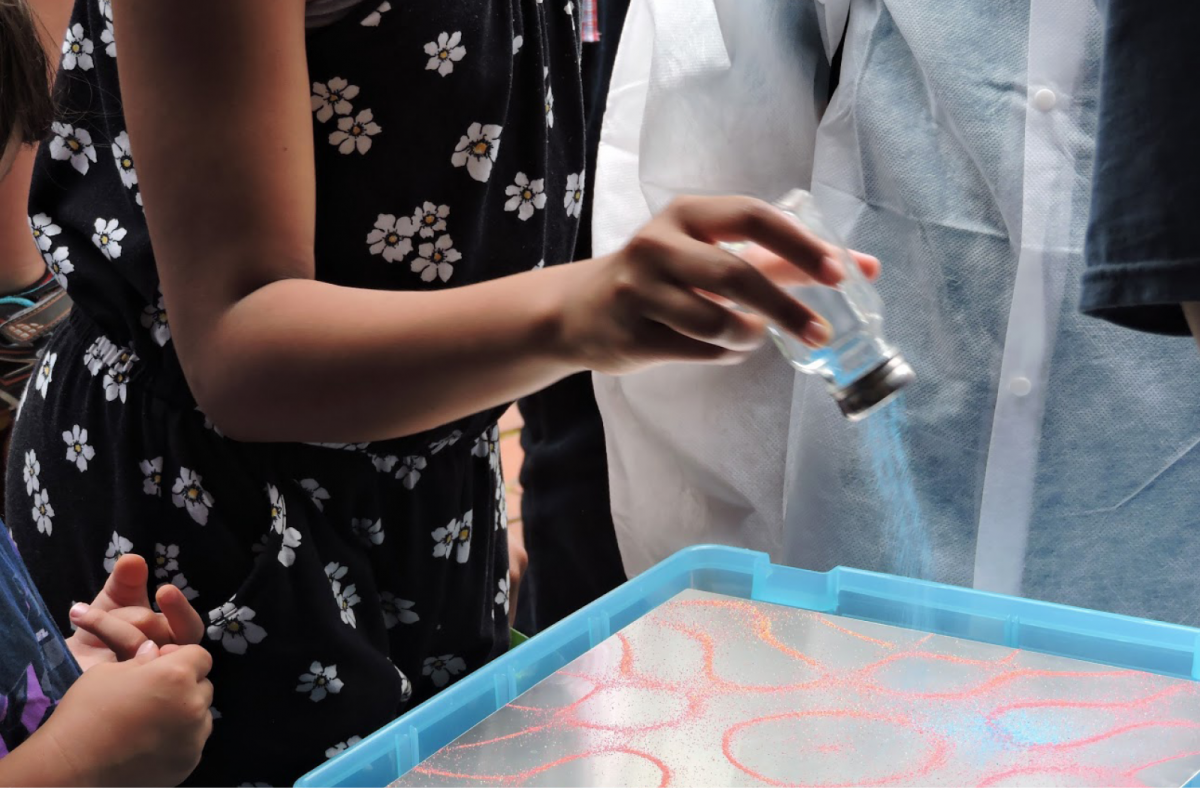 A Chladni Plate (sound resonance demonstration) was used to engage with Philadelphia Science Festival attendees by showing that sound is a physical energy that can be explored visually.