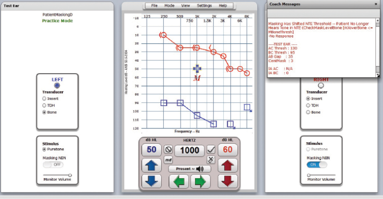 A screen capture of computer-based audiometer showing an air-conduction test for the left ear of this virtual patient.