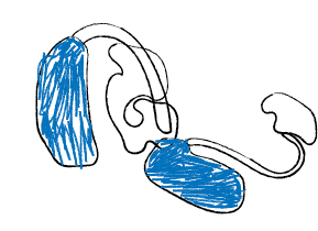 Child drawing of hearing aids