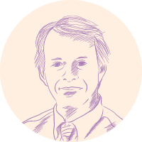 James W. Hall portrait illustration